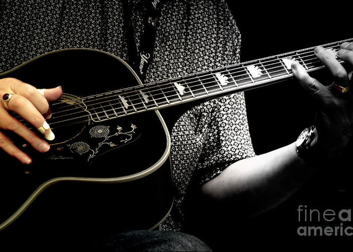 Guitar Greeting Card featuring the photograph Vintage Fingerpicking by Steven Digman