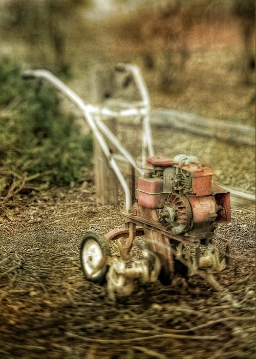 Vintage Garden Rototiller Near Split Rail Fence Greeting Card For