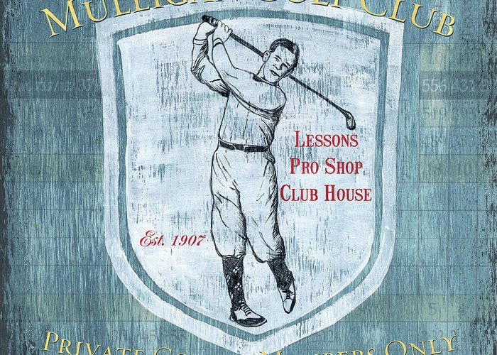Golf Greeting Card featuring the painting Vintage Golf Blue 1 by Debbie DeWitt