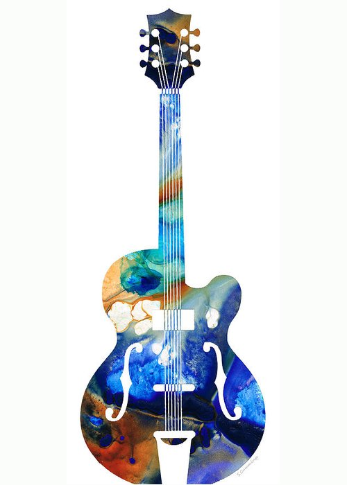 Guitar Greeting Card featuring the painting Vintage Guitar - Colorful Abstract Musical Instrument by Sharon Cummings
