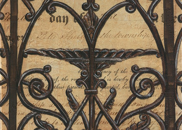 Iron Greeting Card featuring the painting Vintage Iron Scroll Gate 1 by Debbie DeWitt