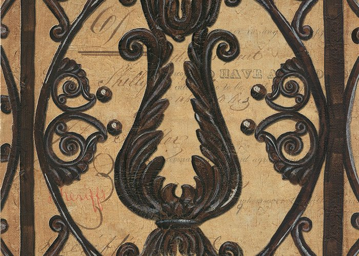 Iron Greeting Card featuring the painting Vintage Iron Scroll Gate 2 by Debbie DeWitt