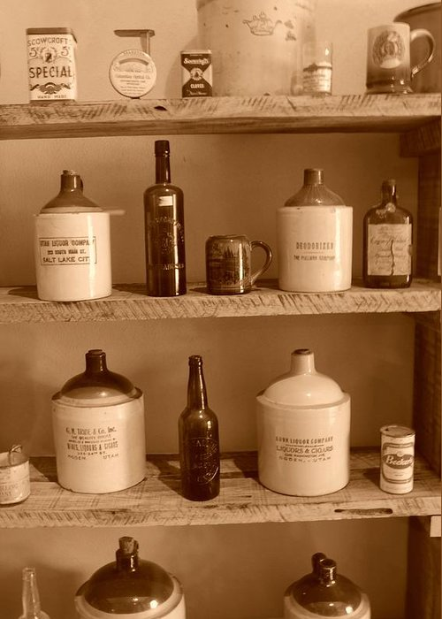 Sepia Photographs Greeting Card featuring the photograph Vintage Jugs by Dennis Hammer