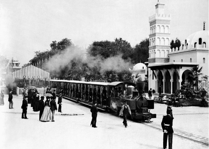 Paris Exposition Greeting Card featuring the photograph Vintage Locomotive Ride - Paris Exposition - 1889 by War Is Hell Store