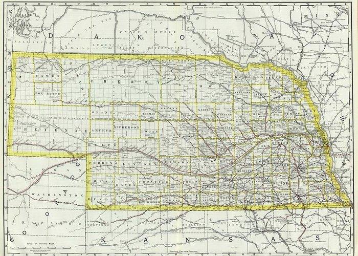Nebraska Greeting Card featuring the drawing Vintage Map Of Nebraska - 1889 by CartographyAssociates
