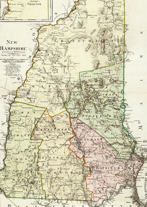 New Hampshire Greeting Card featuring the drawing Vintage Map Of New Hampshire - 1796 by CartographyAssociates