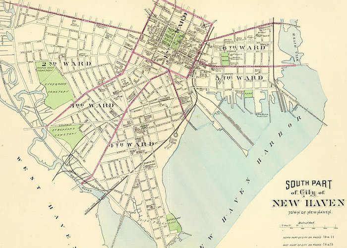 New Haven Greeting Card featuring the drawing Vintage Map Of New Haven Connecticut - 1893 by CartographyAssociates