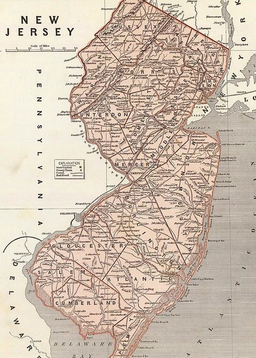 New Jersey Greeting Card featuring the drawing Vintage Map Of New Jersey - 1845 by CartographyAssociates