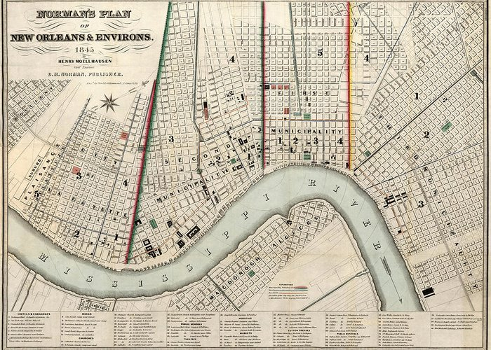 New Orleans Greeting Card featuring the drawing Vintage Map Of New Orleans Louisiana - 1845 by CartographyAssociates