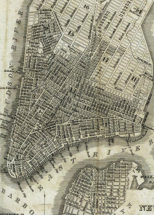New York City Greeting Card featuring the drawing Vintage Map Of New York City - 1842 by CartographyAssociates