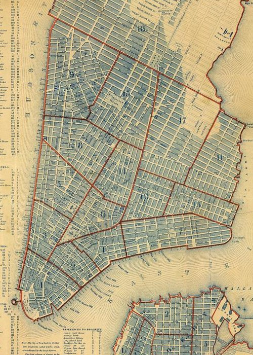 New York City Greeting Card featuring the drawing Vintage Map Of New York City - 1846 by CartographyAssociates