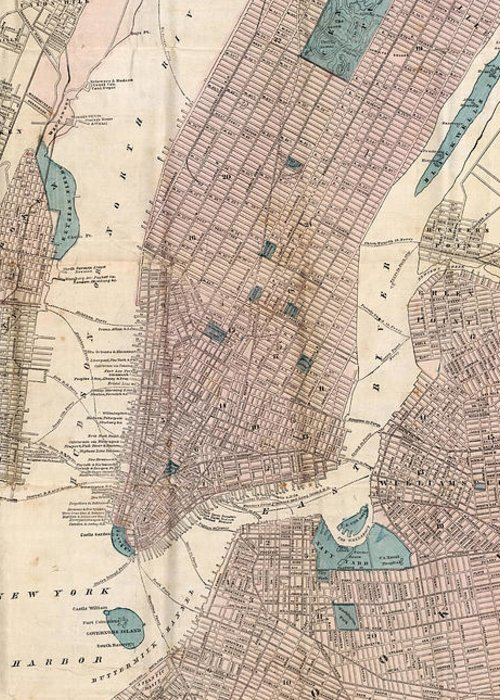 New York City Greeting Card featuring the drawing Vintage Map Of New York City - 1867 by CartographyAssociates