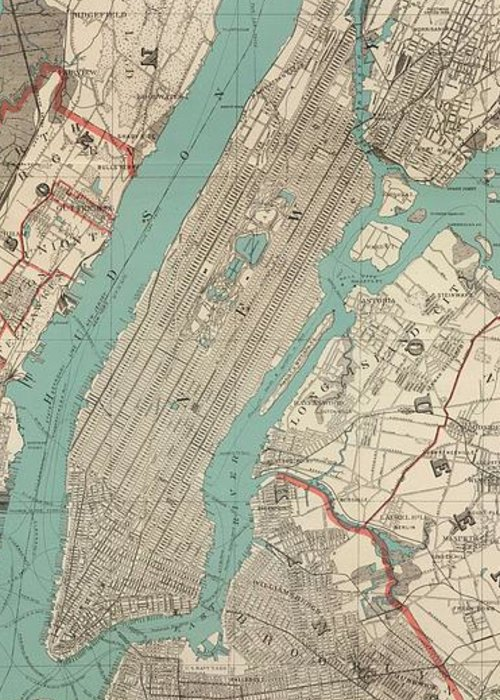 New York City Greeting Card featuring the drawing Vintage Map Of New York City - 1890 by CartographyAssociates