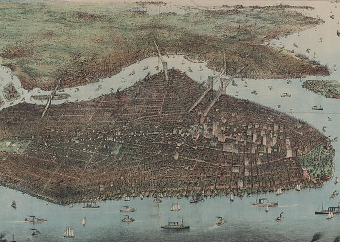 New York City Greeting Card featuring the drawing Vintage Map Of New York City - 1905 by CartographyAssociates
