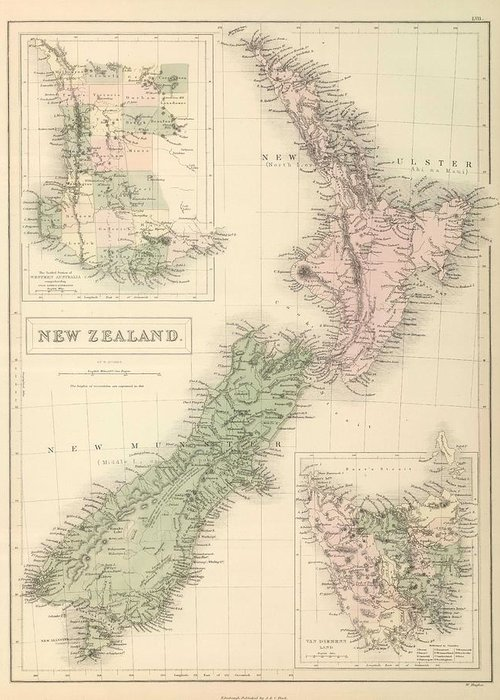 New Zealand Greeting Card featuring the drawing Vintage Map Of New Zealand - 1854 by CartographyAssociates