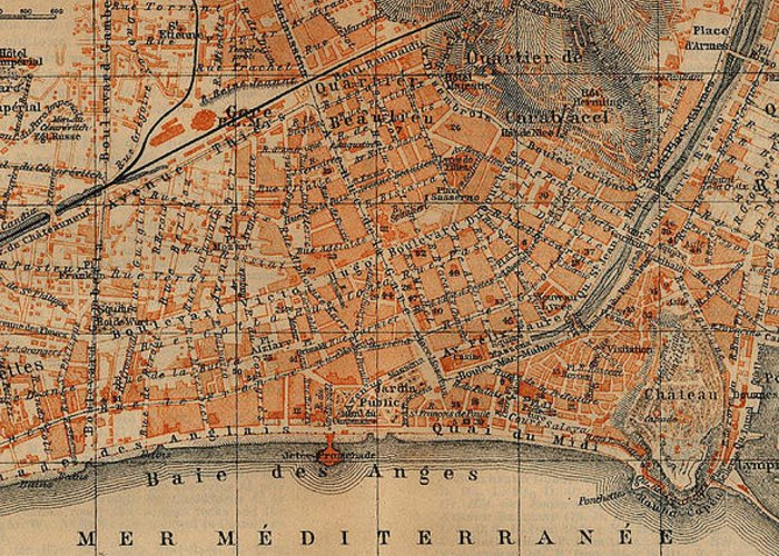 Nice France Greeting Card featuring the drawing Vintage Map Of Nice France - 1914 by CartographyAssociates
