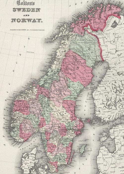 Norway Greeting Card featuring the drawing Vintage Map Of Norway And Sweden - 1865 by CartographyAssociates