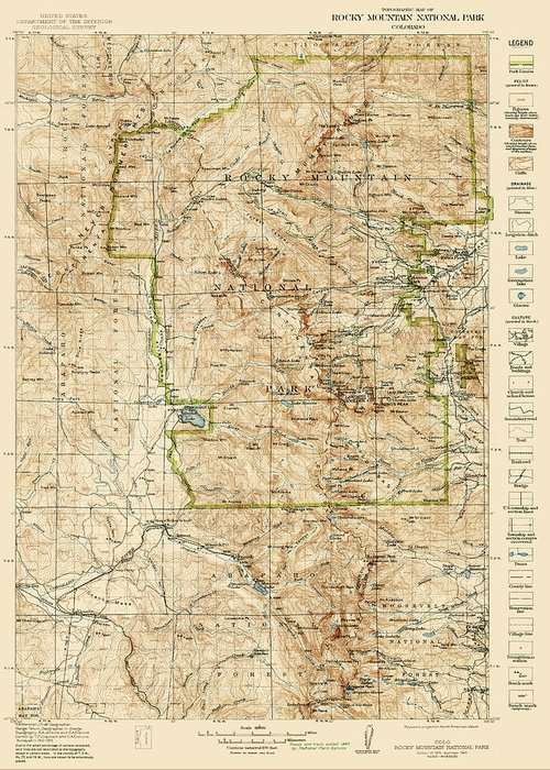 Rocky Mountain National Park Greeting Card featuring the drawing Vintage Map Of Rocky Mountain National Park - Colorado - 1919/1940 by Blue Monocle