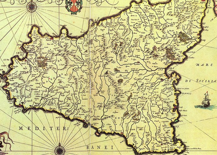 Vintage Map Of Sicily Italy - 1600s Greeting Card