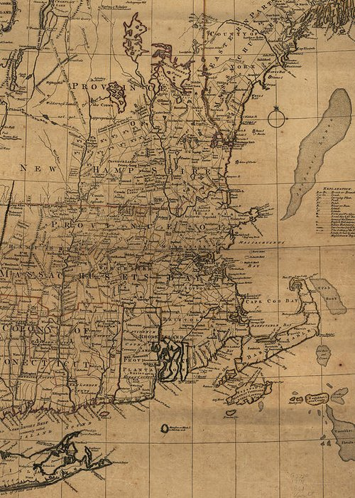 New England Greeting Card featuring the drawing Vintage Map Of The New England Coast - 1771 by CartographyAssociates