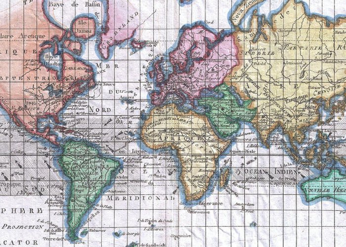 Vintage map of the world 1780 greeting card for sale by world greeting card featuring the drawing vintage map of the world 1780 by cartographyassociates gumiabroncs Images
