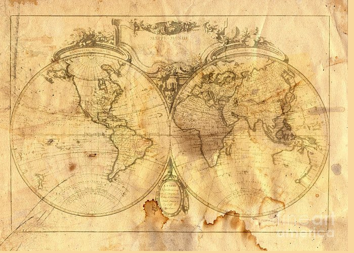 Abstract Greeting Card featuring the digital art Vintage Map Of The World by Michal Boubin