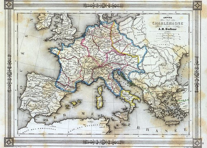 Map Of Europe For Sale.Vintage Map Of Western Europe Greeting Card For Sale By Gillham Studios