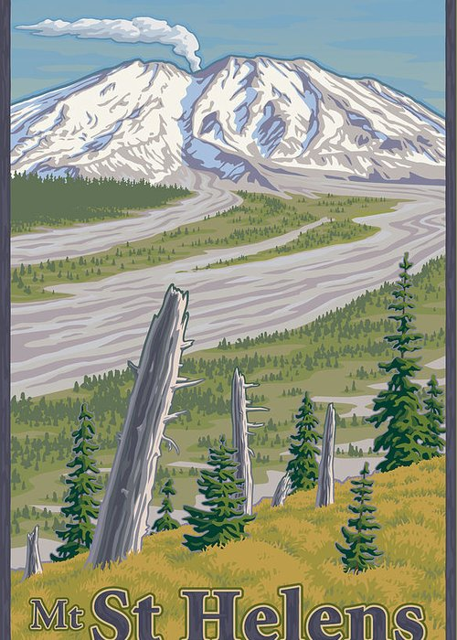 Mount Greeting Card featuring the digital art Vintage Mount St. Helens Travel Poster by Mitch Frey