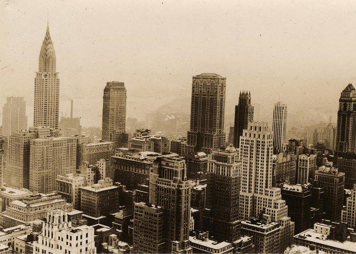 New York City Skyline Greeting Card featuring the photograph Vintage New York City Skyline Photograph - 1935 by PhotographyAssociates