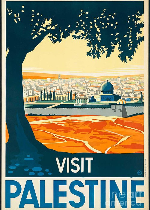 Palestine Greeting Card featuring the photograph Vintage Palestine Travel Poster by George Pedro