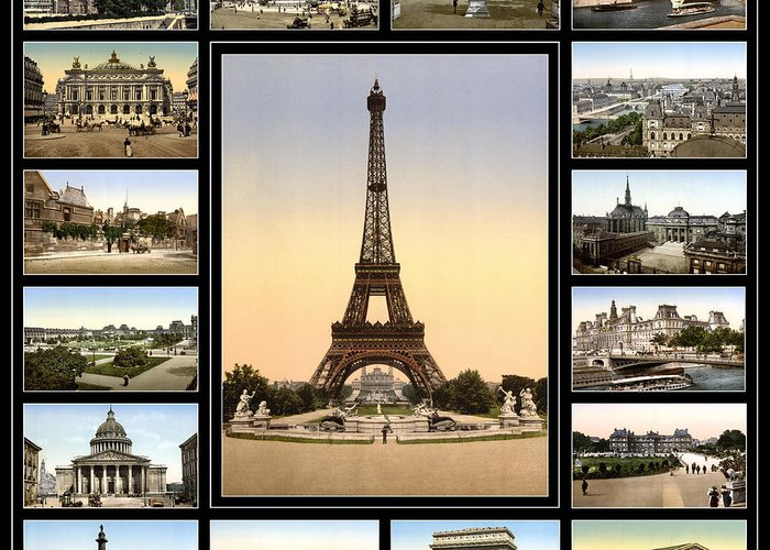 Paris Greeting Card featuring the photograph Vintage Paris 1900 by Andrew Fare