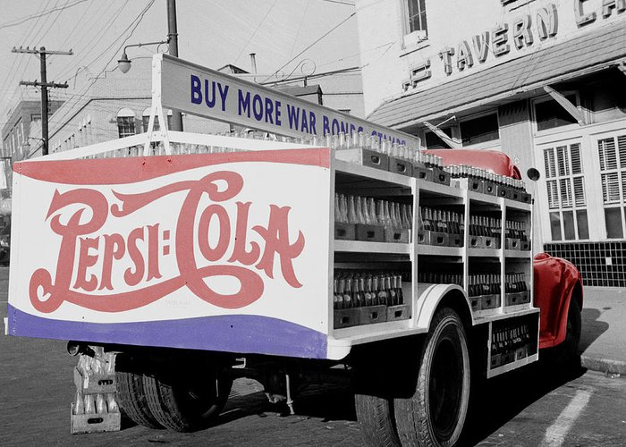 Pepsi Greeting Card featuring the photograph Vintage Pepsi Truck by Andrew Fare