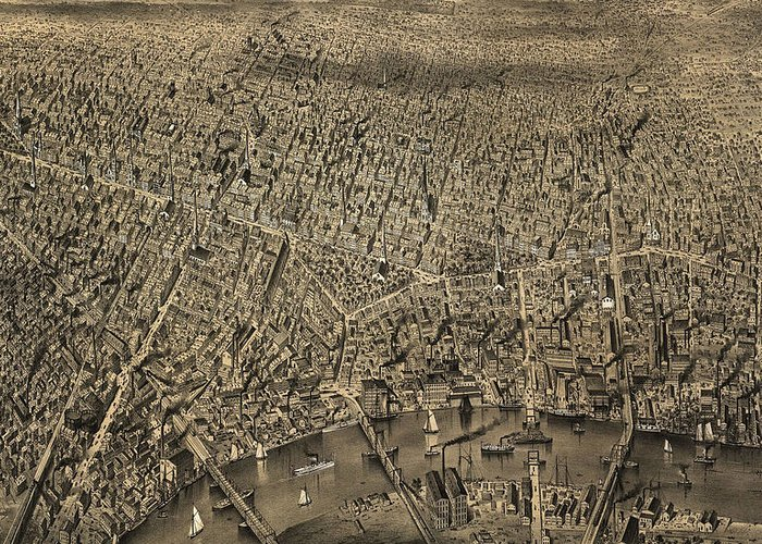 Newark Greeting Card featuring the drawing Vintage Pictorial Map Of Newark Nj - 1874 by CartographyAssociates