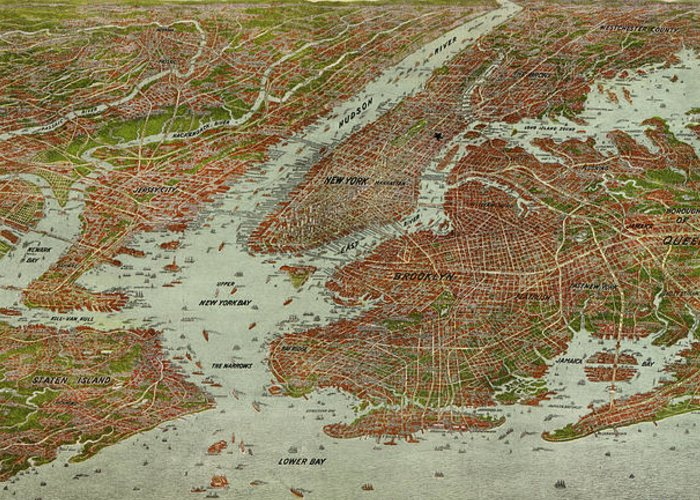 New York City Greeting Card featuring the drawing Vintage Pictorial Map Of The Nyc Area - 1912 by CartographyAssociates
