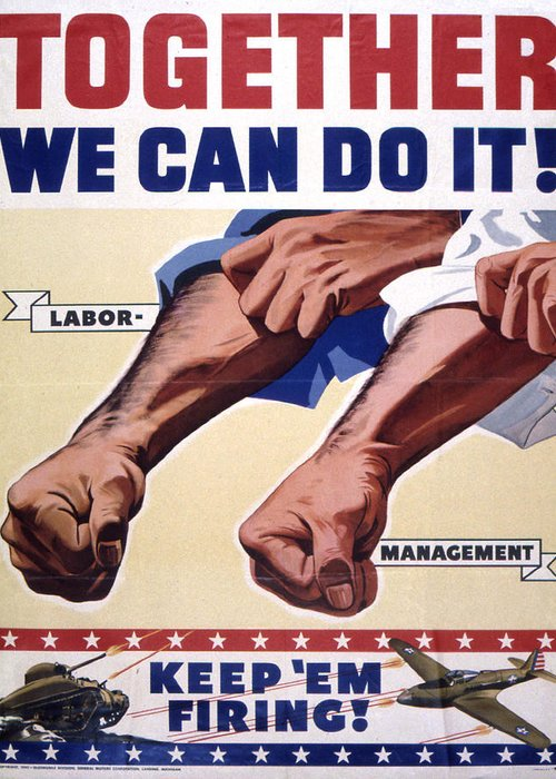 Vintage Poster Greeting Card featuring the painting Vintage Poster - Together We Can Do It by Vintage Images