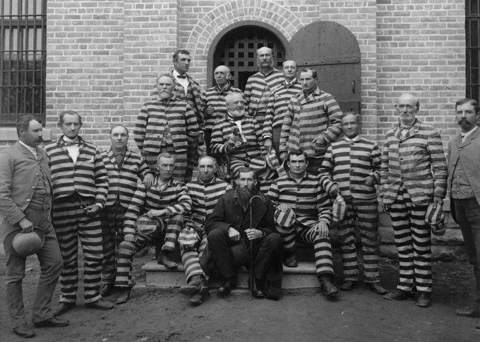 Prison Stripes Greeting Cards