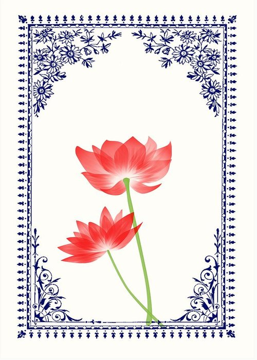 Vintage red flower 1 with blue border greeting card for sale by red greeting card featuring the digital art vintage red flower 1 with blue border by jannina m4hsunfo
