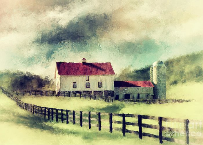 Red Roofed Barn Digital Art Greeting Cards