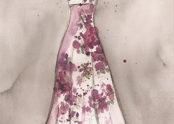 Vintage Dress Greeting Card featuring the painting Vintage Romance Dress by Lauren Maurer