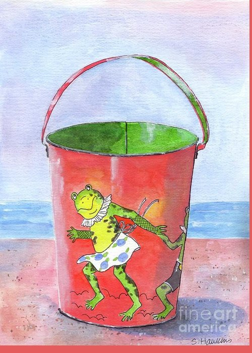 Watercolor Greeting Card featuring the painting Vintage Sand Pail Dancing Frogs by Sheryl Heatherly Hawkins