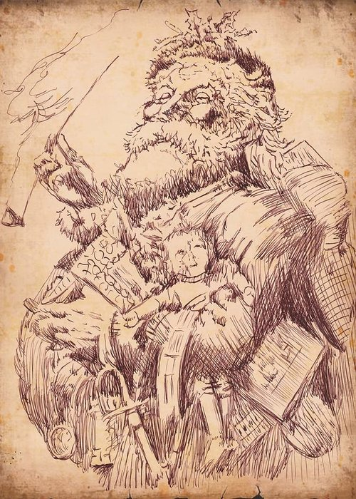 Vintage Greeting Card featuring the drawing Vintage Santa by Robbi Musser