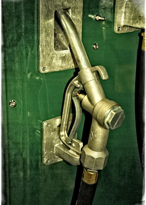 Vintage Greeting Card featuring the photograph Vintage Sinclair Dino Gas Pump by Mike Martin