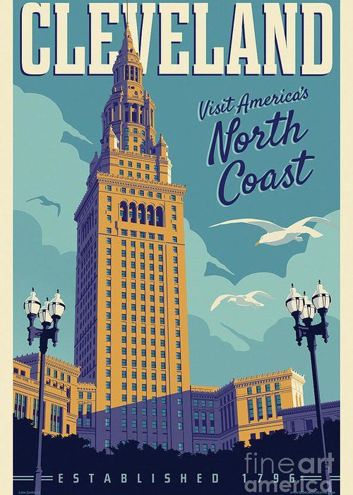 Cleveland Greeting Card featuring the digital art Cleveland Poster - Vintage Style Travel by Jim Zahniser