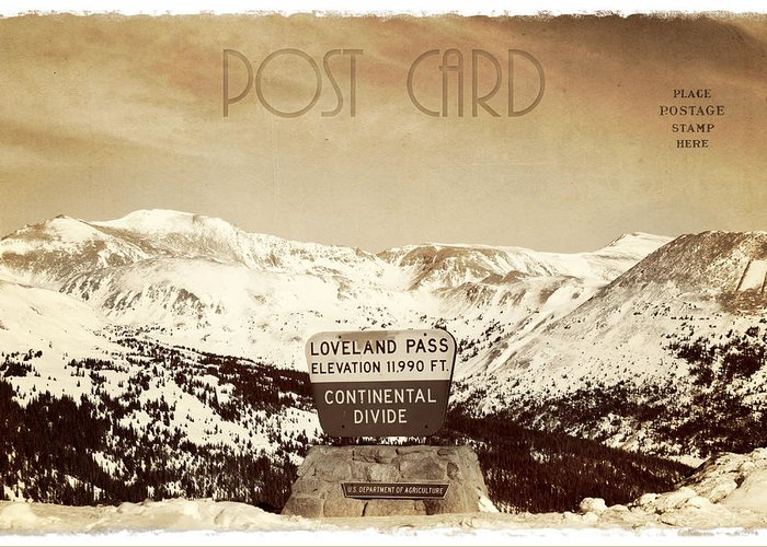Background Greeting Card featuring the photograph Vintage Style Post Card From Loveland Pass by Juli Scalzi