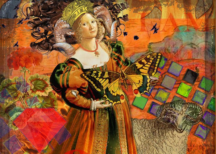 Doodlefly Greeting Card featuring the digital art Vintage Taurus Gothic Whimsical Collage Woman Fantasy by Mary Hubley