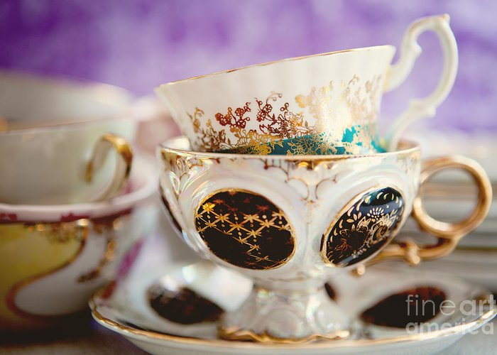 Tea Party Greeting Card featuring the photograph Vintage Teacups by Kim Fearheiley