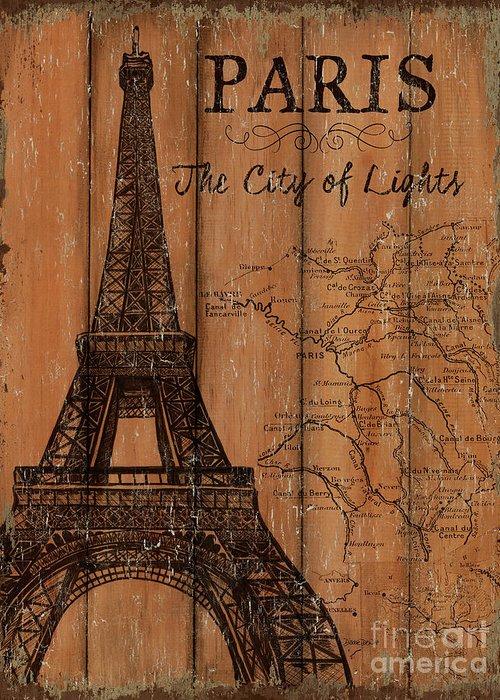 Paris Greeting Card featuring the painting Vintage Travel Paris by Debbie DeWitt
