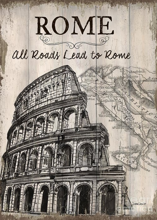Rome Greeting Card featuring the painting Vintage Travel Poster by Debbie DeWitt