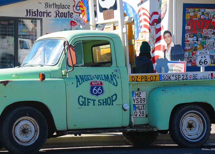 Gift Shop Greeting Card featuring the photograph Vintage Truck with Elvis on Historic Route 66 by Victoria Oldham