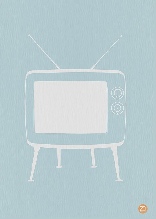 Greeting Card featuring the digital art Vintage Tv Poster by Naxart Studio